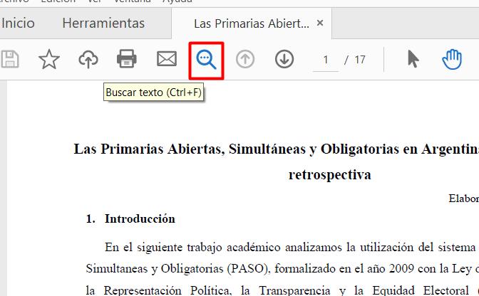 Buscar una palabra en un PDF