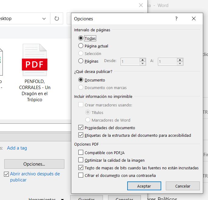 Opciones Windows PDF